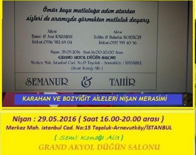 Semanur ve Tahir'in nişanı pazar günü İSTANBUL da yapılıyor. 29.05.2016