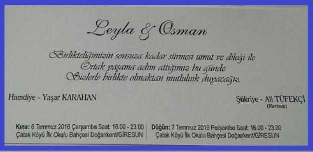 Osman ile Leyla Evleniyorlar…